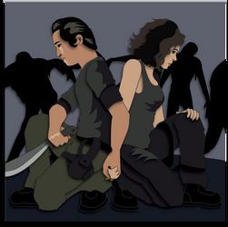 Shadowbox Mockup:  Walking Dead Glenn and Maggie