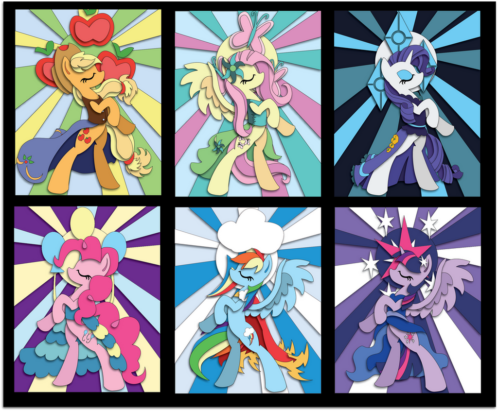 Stained Glass Mane 6 Mock Up by The-Paper-Pony