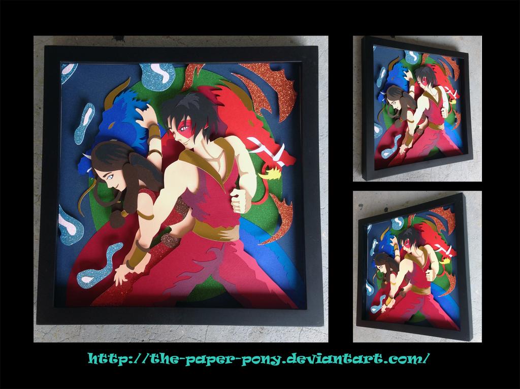 Katara and Zuko Shadowbox by The-Paper-Pony