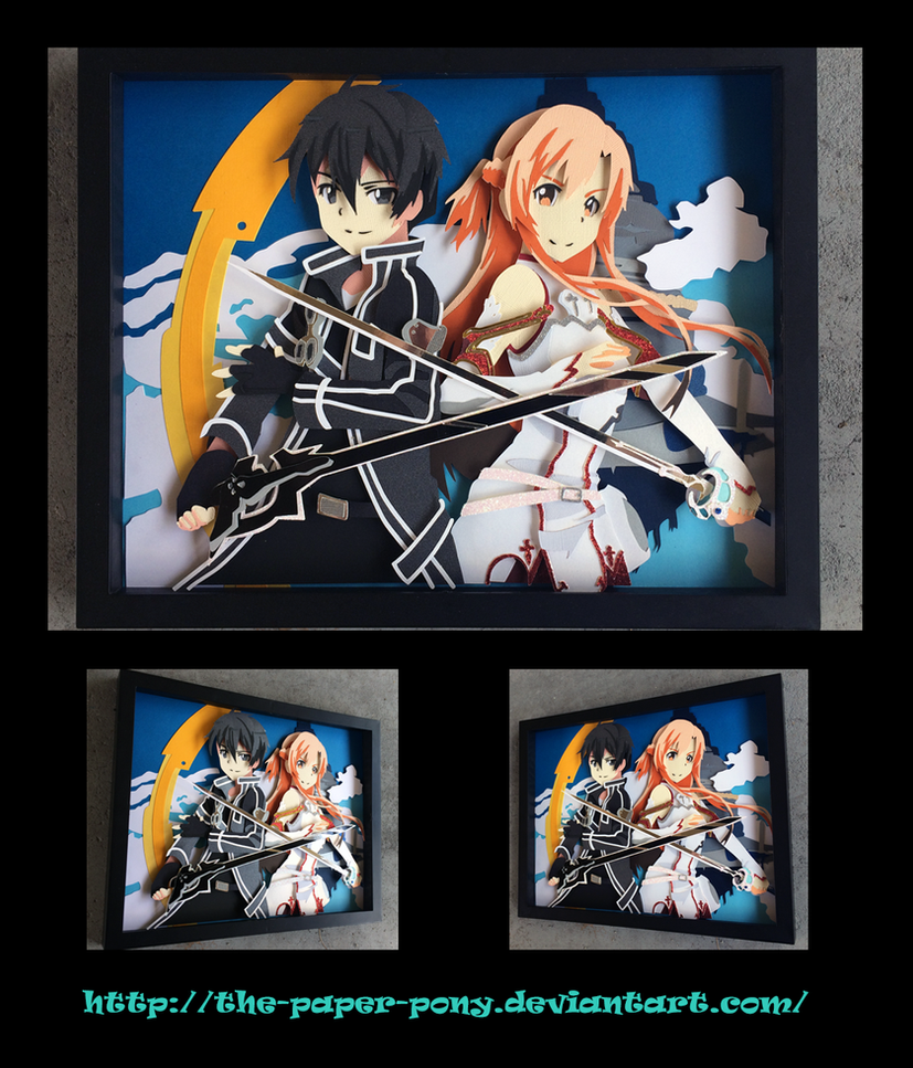 11x14 Sword Art Online Kirito and Asuna Shadowbox by The-Paper-Pony