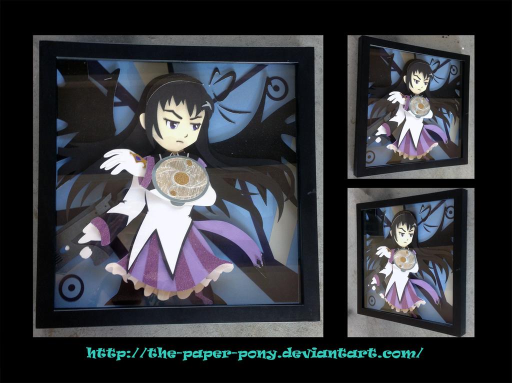 12 x 12 Madoka Magica Homura Shadowbox by The-Paper-Pony