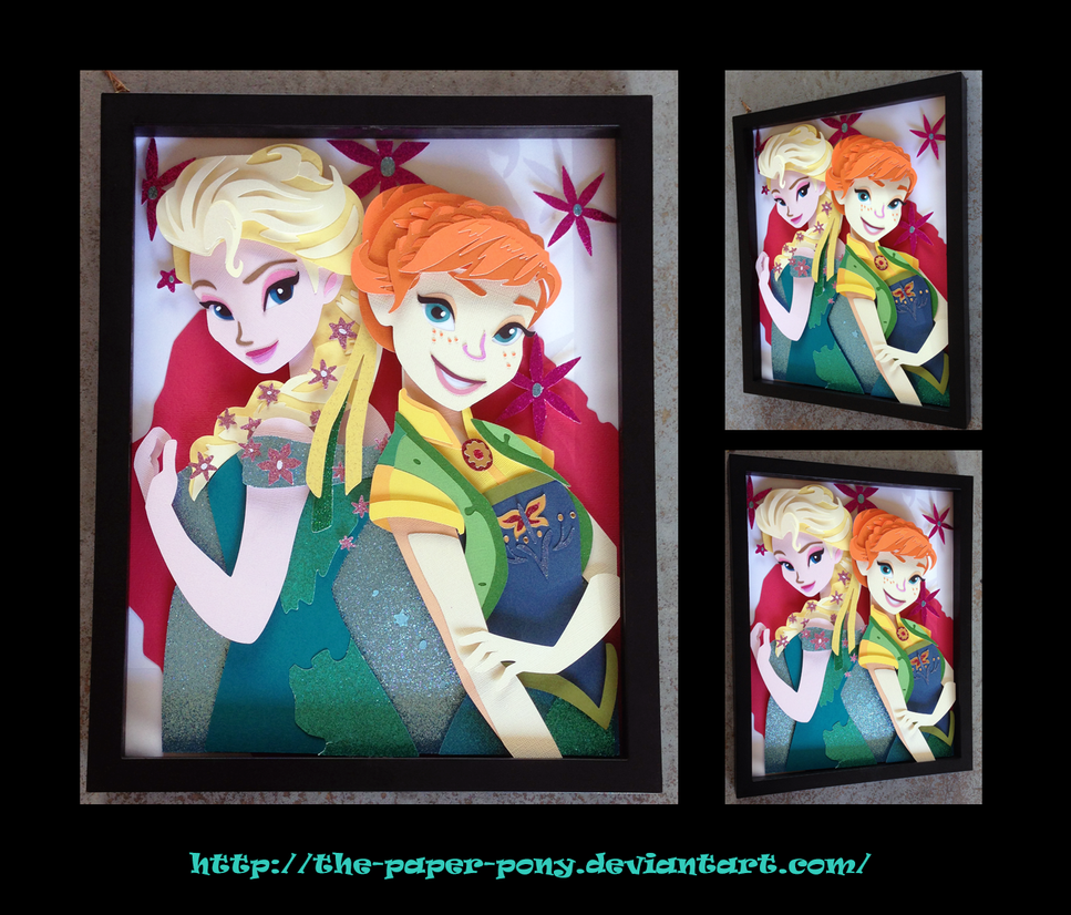 Frozen Fever's Anna and Elsa Shadowbox by The-Paper-Pony