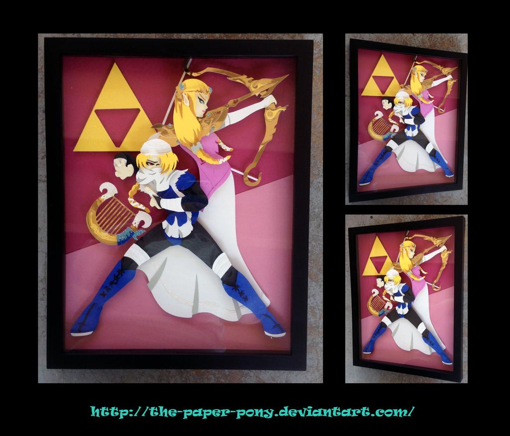 11 x 14 Sheik and Zelda Shadowbox by The-Paper-Pony