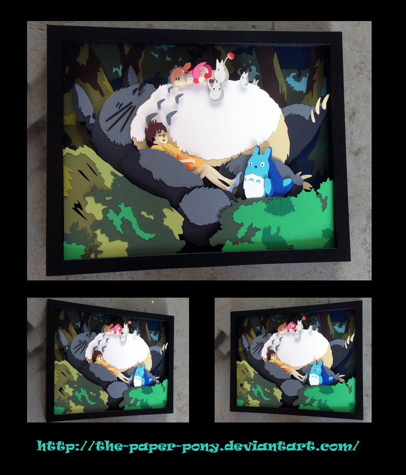 11 x 14 My Neighbor Totoro Shadowbox by The-Paper-Pony