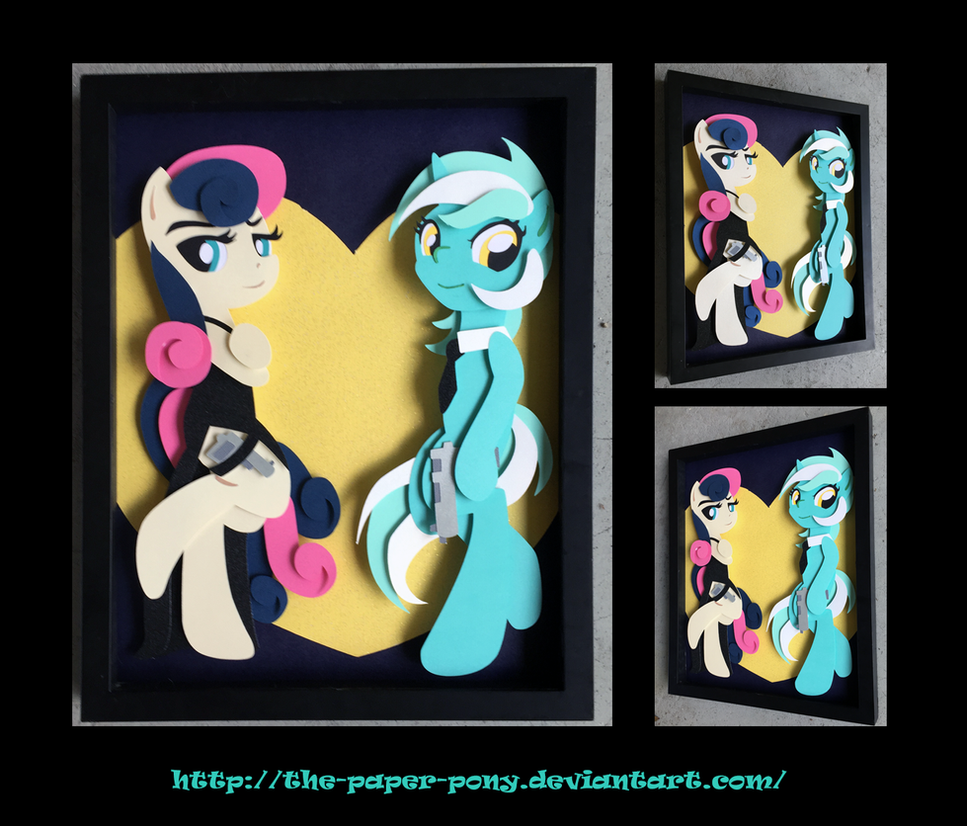 11x14 Lyra and Agent Sweetie Drops Shadowbox by The-Paper-Pony
