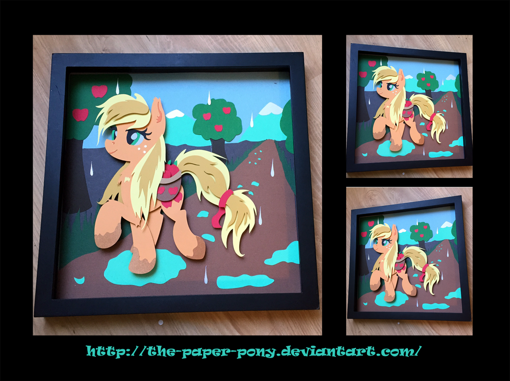 12x12 Wet Mane Applejack Shadowbox by The-Paper-Pony