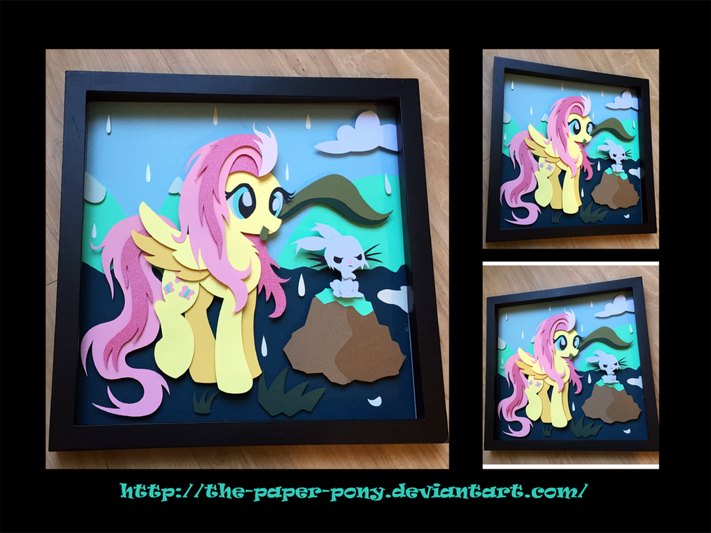 12x12 Wet Mane Fluttershy Shadowbox by The-Paper-Pony