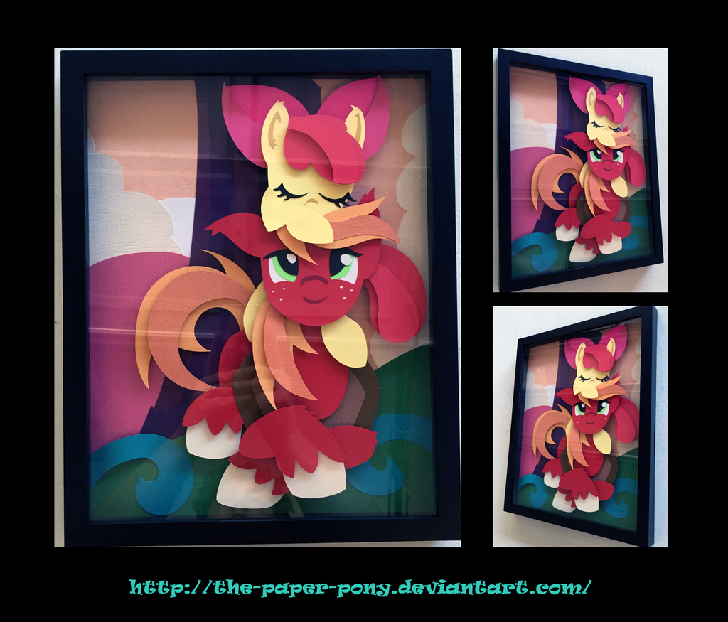 11x14 Applebloom and Big Mac Shadowbox by The-Paper-Pony