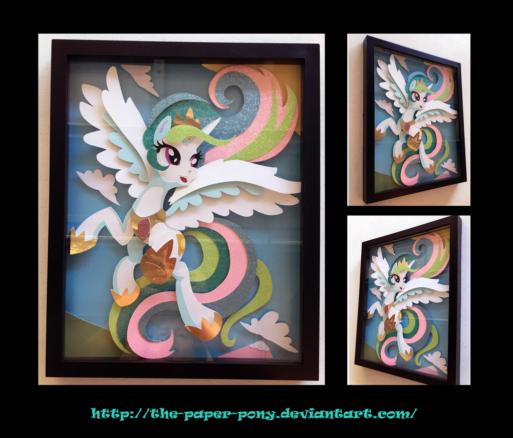 11x14 Frolicking Celestia Shadowbox by The-Paper-Pony
