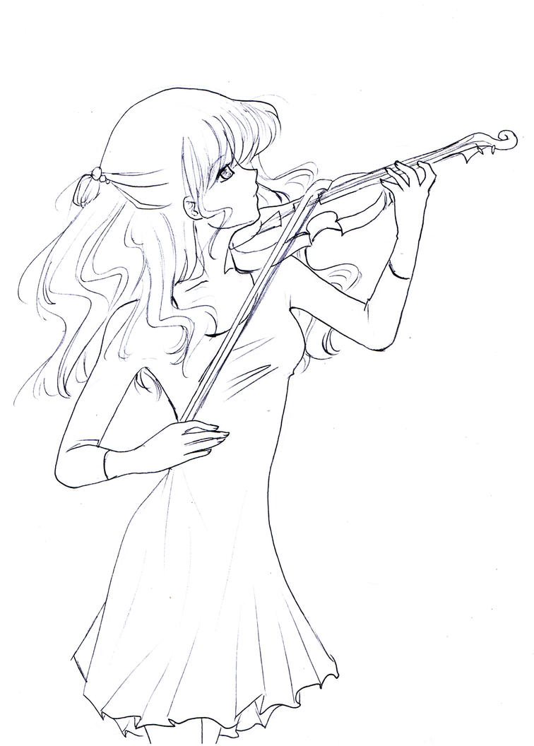 Playing the Violin Lineart by Nyra992
