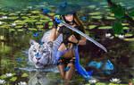 Samurai  girl with white tiger