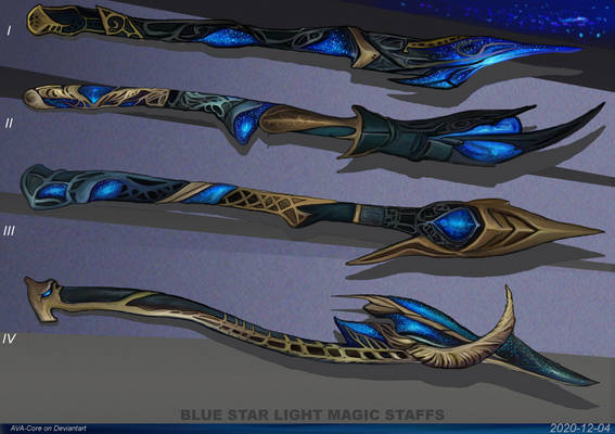 4- Blue star light magic staffs ( Adoptables open)