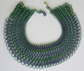 Egyptian Collar in Green and Purple