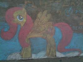 Fluttershy in Sidewalk Chalk by dolst