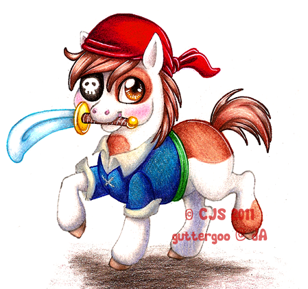 Pipsqueak the piratepony by Guttergoo