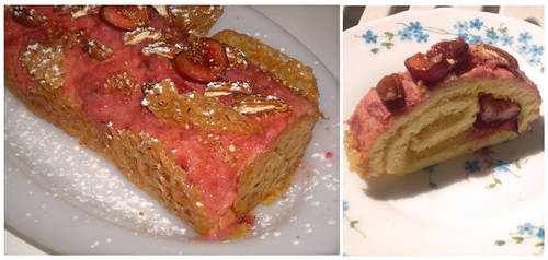 Apple-cherry-peach cake, crisp maple-pecan by Younae
