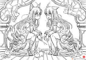 twin fox [relax drawing] by gao-lukchup