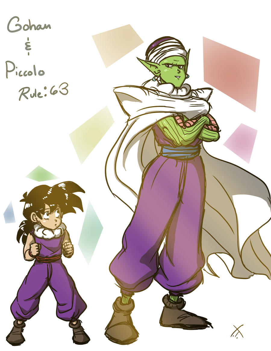 Gohan and Piccolo Rule 63 by LovetheTrub