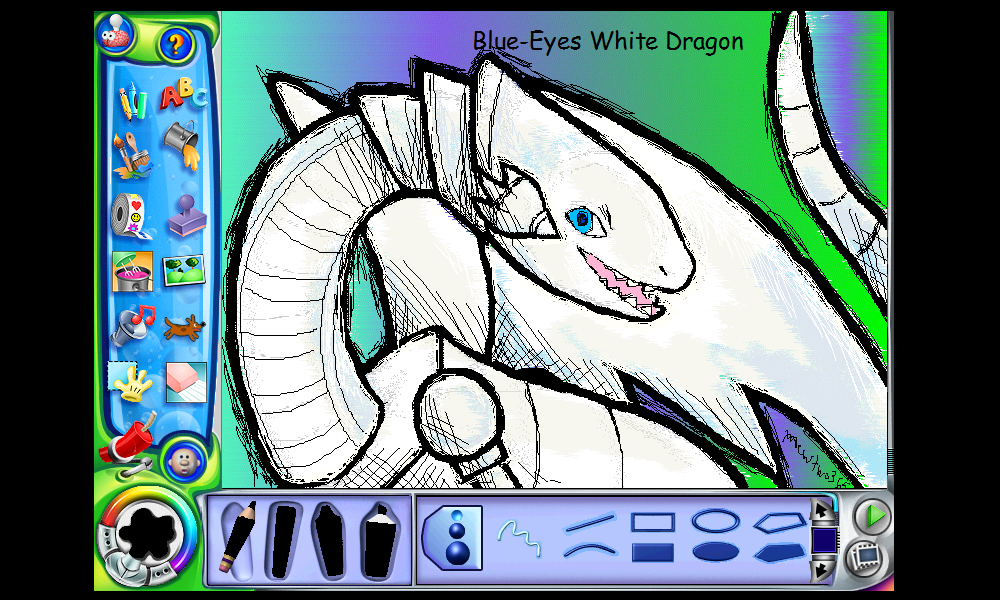 Blue Eyes White Dragon in Kid Pix Deluxe 4
