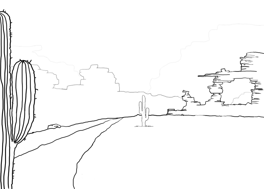 how to draw a simple desert scene