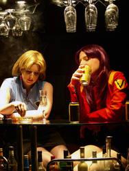 Misato and Ritsuko at the bar