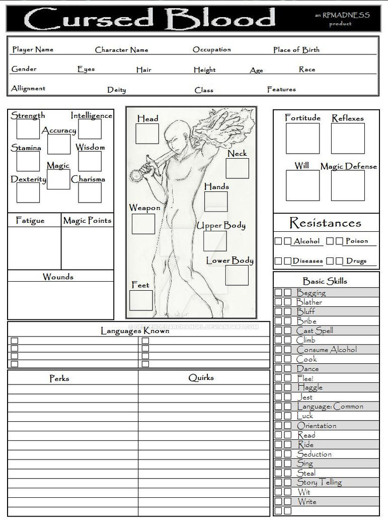 RP Character Sheet, Male by DescendedArchangel on DeviantArt