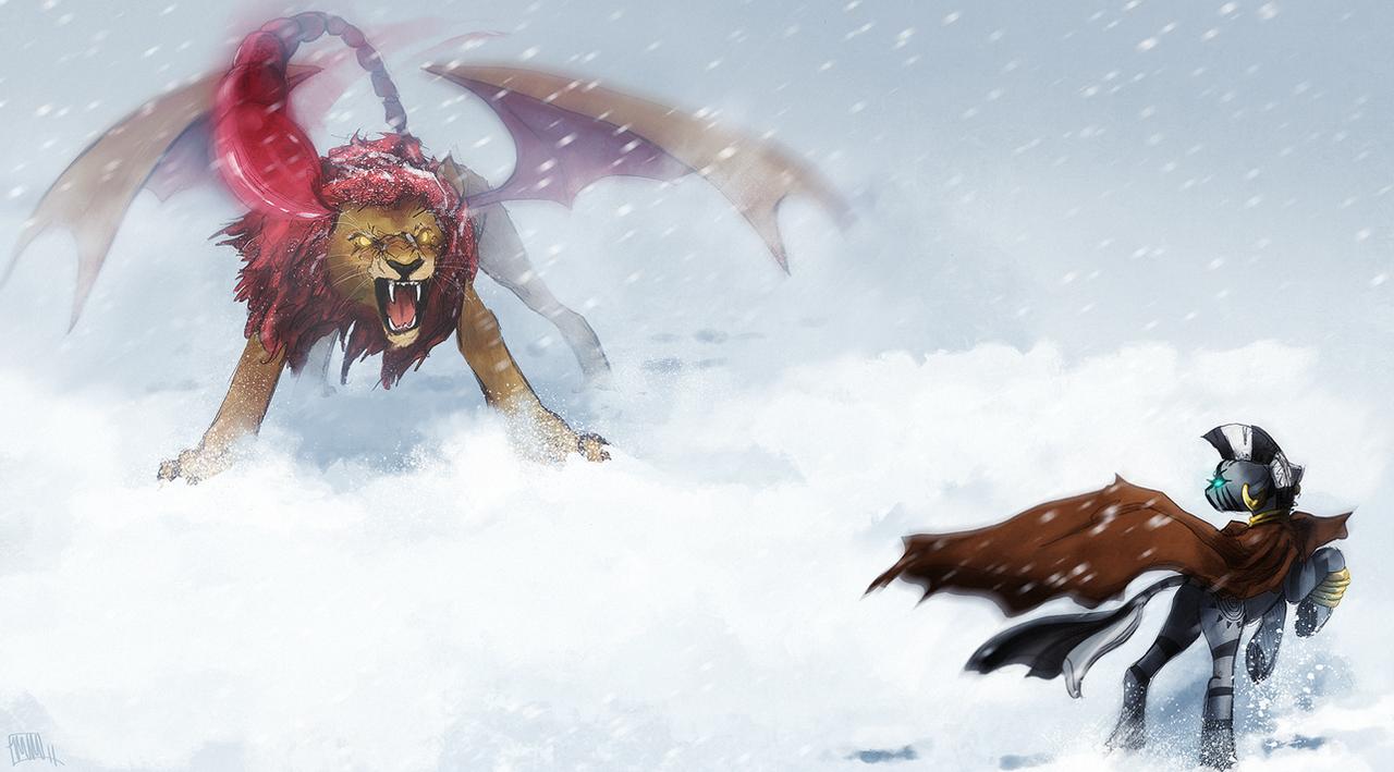 snowy encounter by CosmicUnicorn