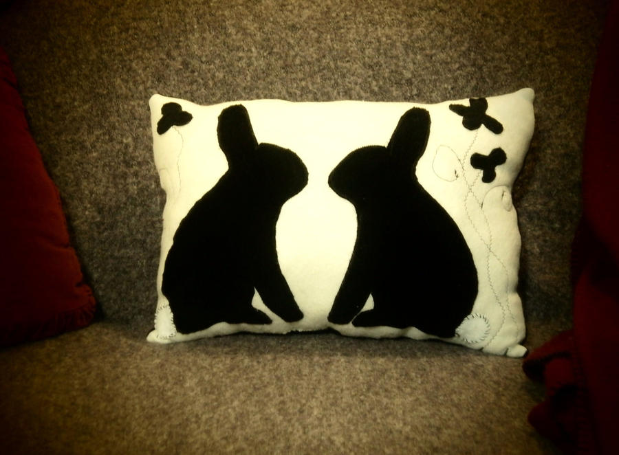 Twin Bunnies Silhouette pillow by InkyDreamz