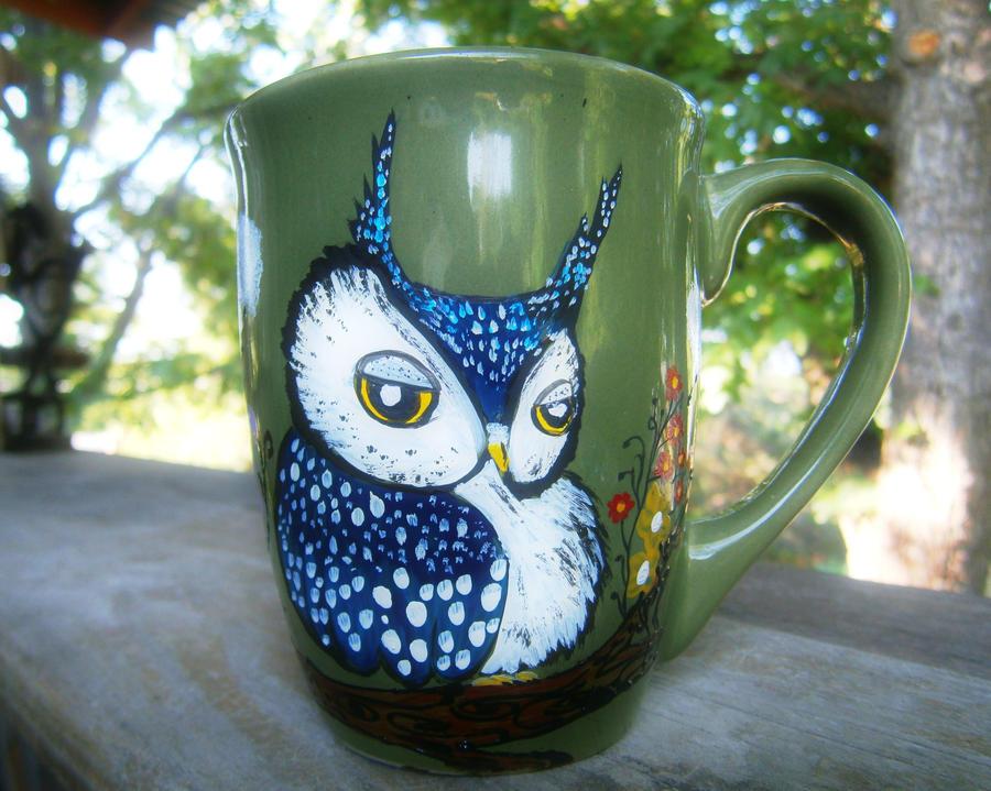 Blue Owl Green Owl - Handpainted mug by InkyDreamz