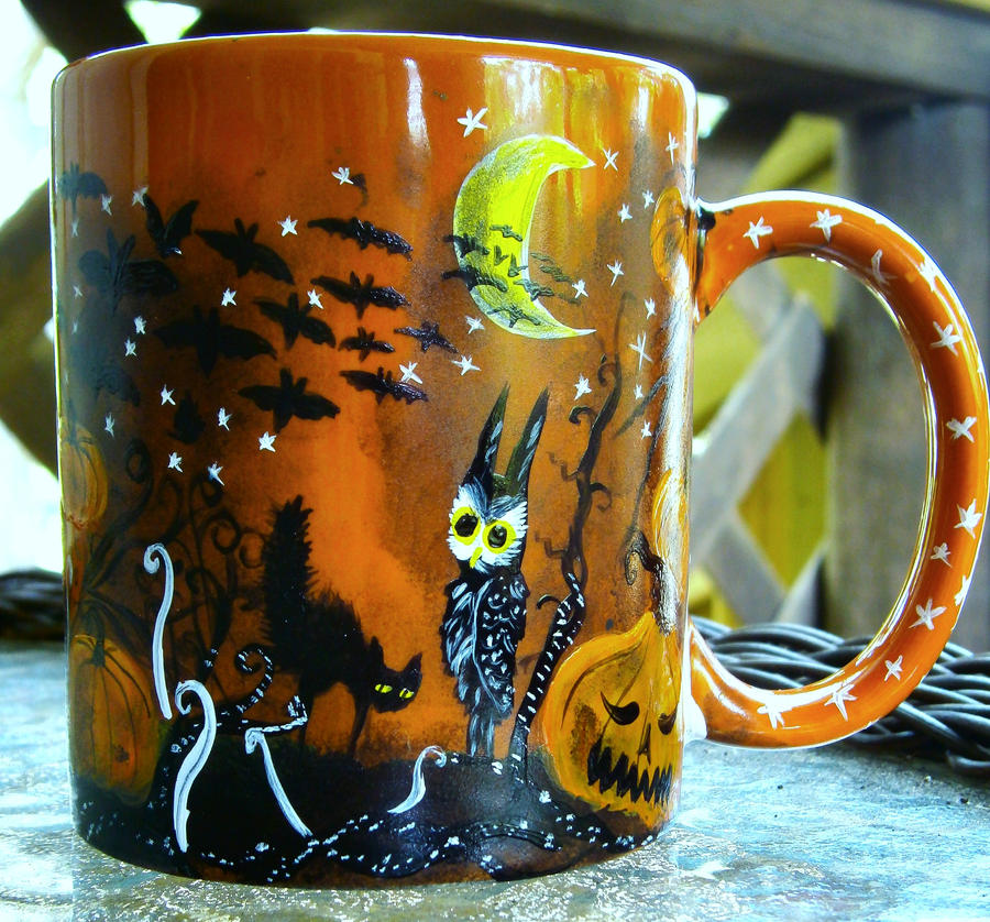 Halloween Tree - Handpainted mug for sale by InkyDreamz