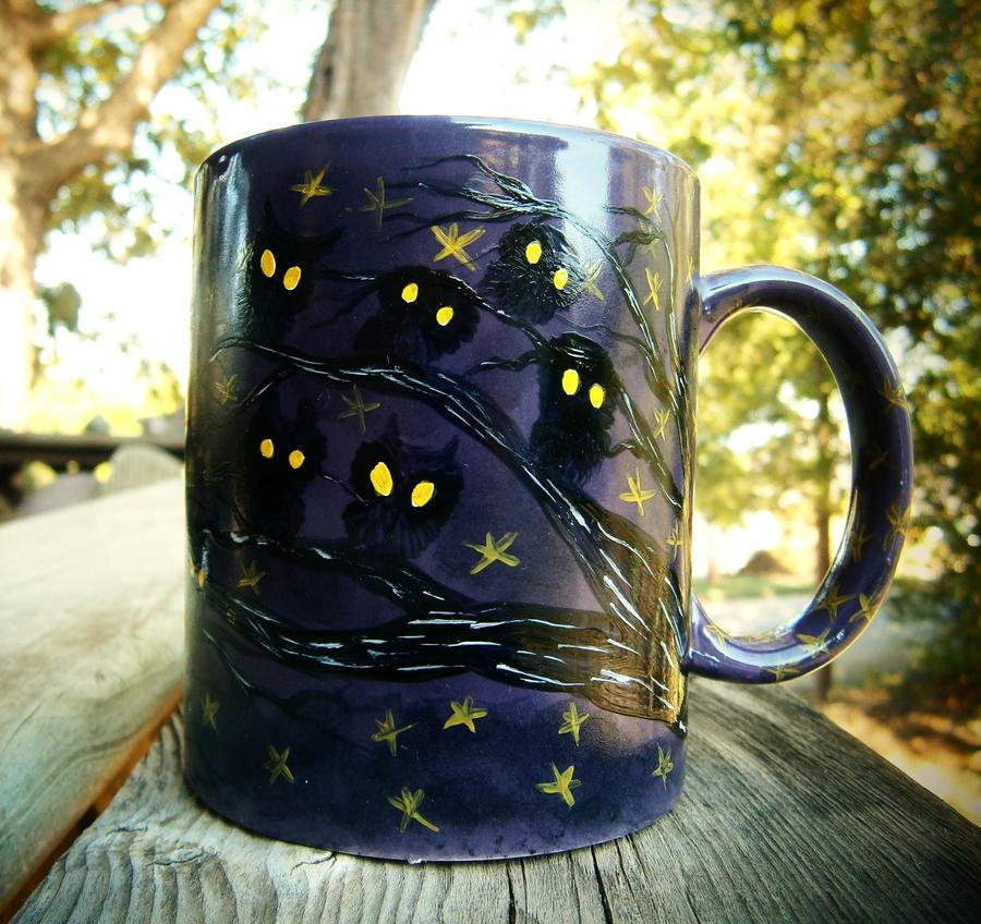 Night Owls - 11-ounce purple coffee mug by InkyDreamz
