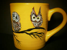 Golden Owl Mug by InkyDreamz