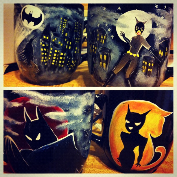 Batman and Catwoman Mugs by InkyDreamz