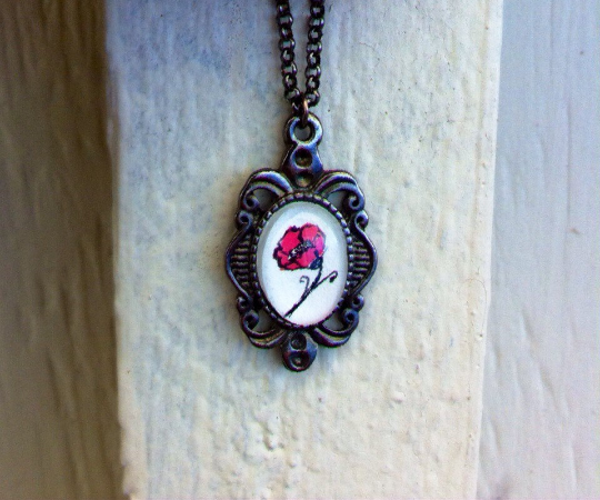 Red Poppy Flower Necklace - handmade art by InkyDreamz