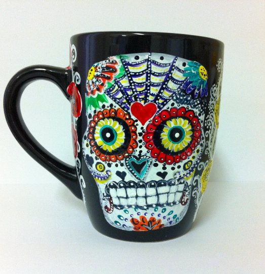 Sugar Skull - day of the dead painted Coffee Mug by InkyDreamz