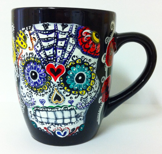 Sugar Skull mug - Other side by InkyDreamz