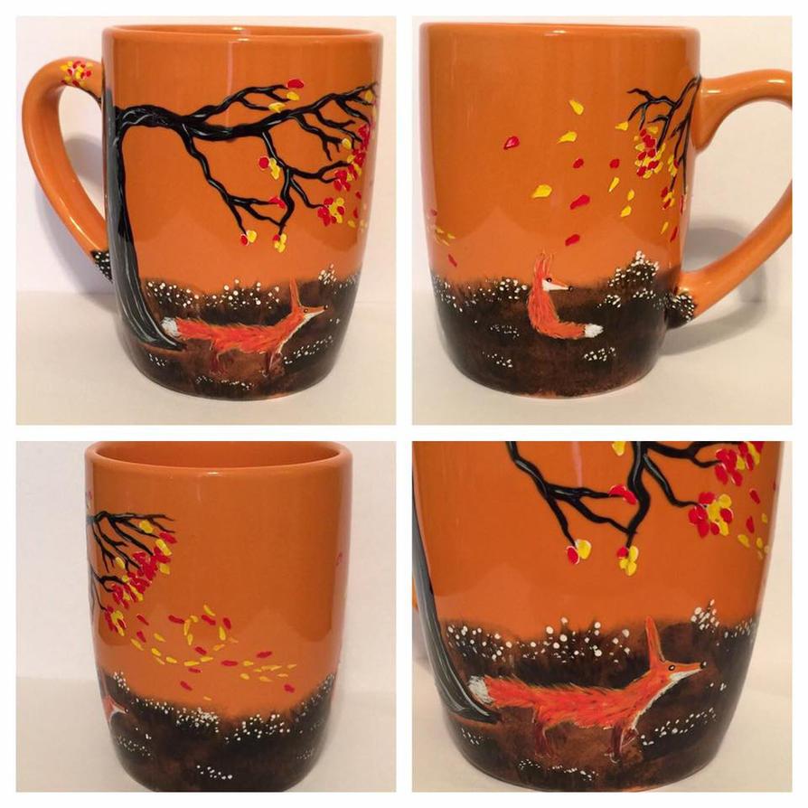 Red Fox Autumn Coffee Mug by InkyDreamz