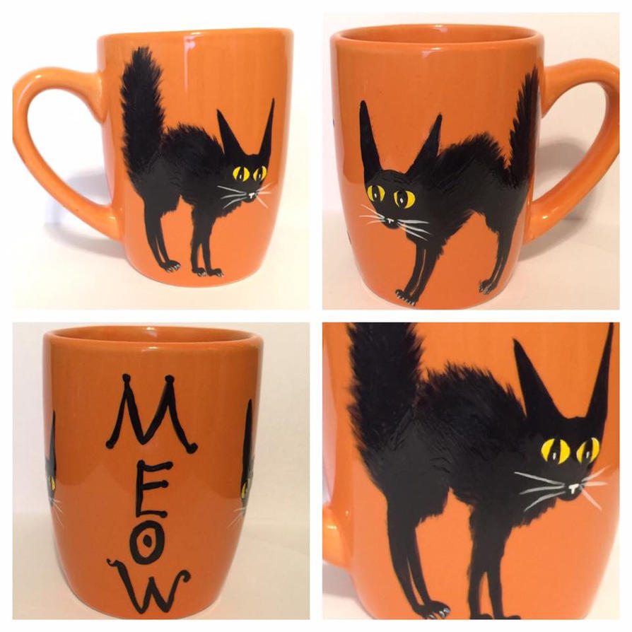 Black Cat Coffee Mug by InkyDreamz