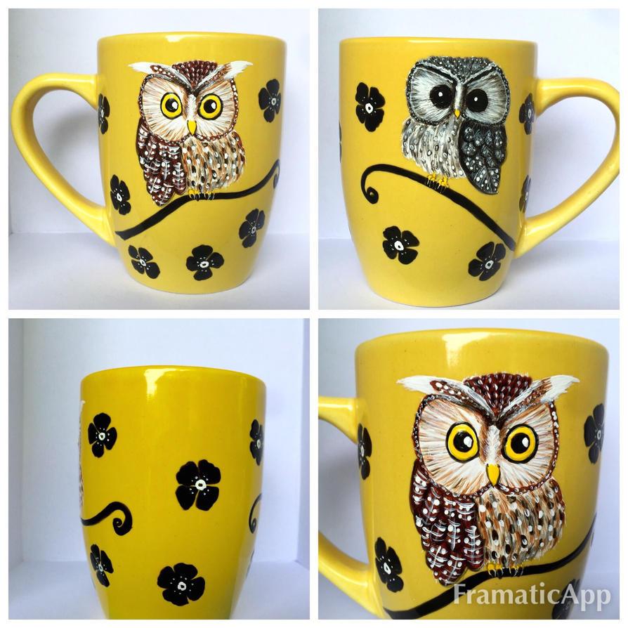 Yellow Owl Mug for sale! by InkyDreamz