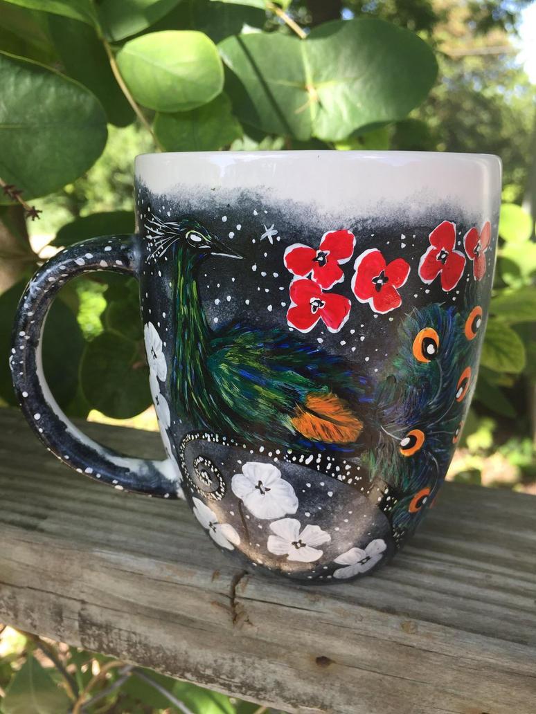 Midnight Garden Peacock Coffee Mug  by InkyDreamz