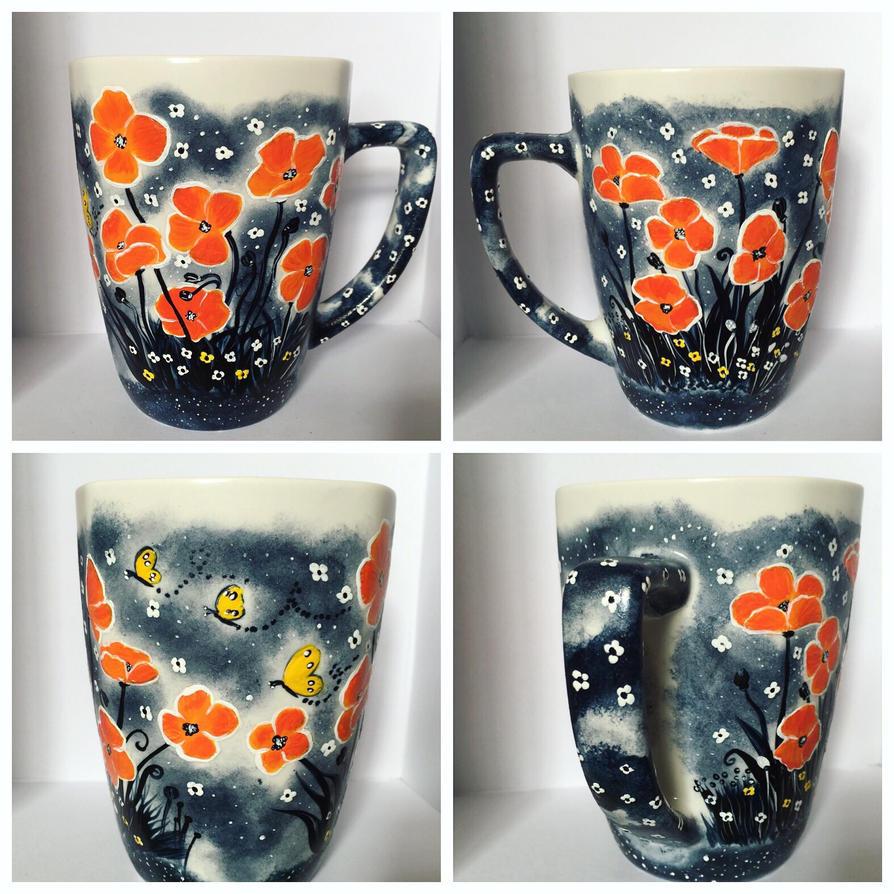 Orange Poppy Mug  by InkyDreamz