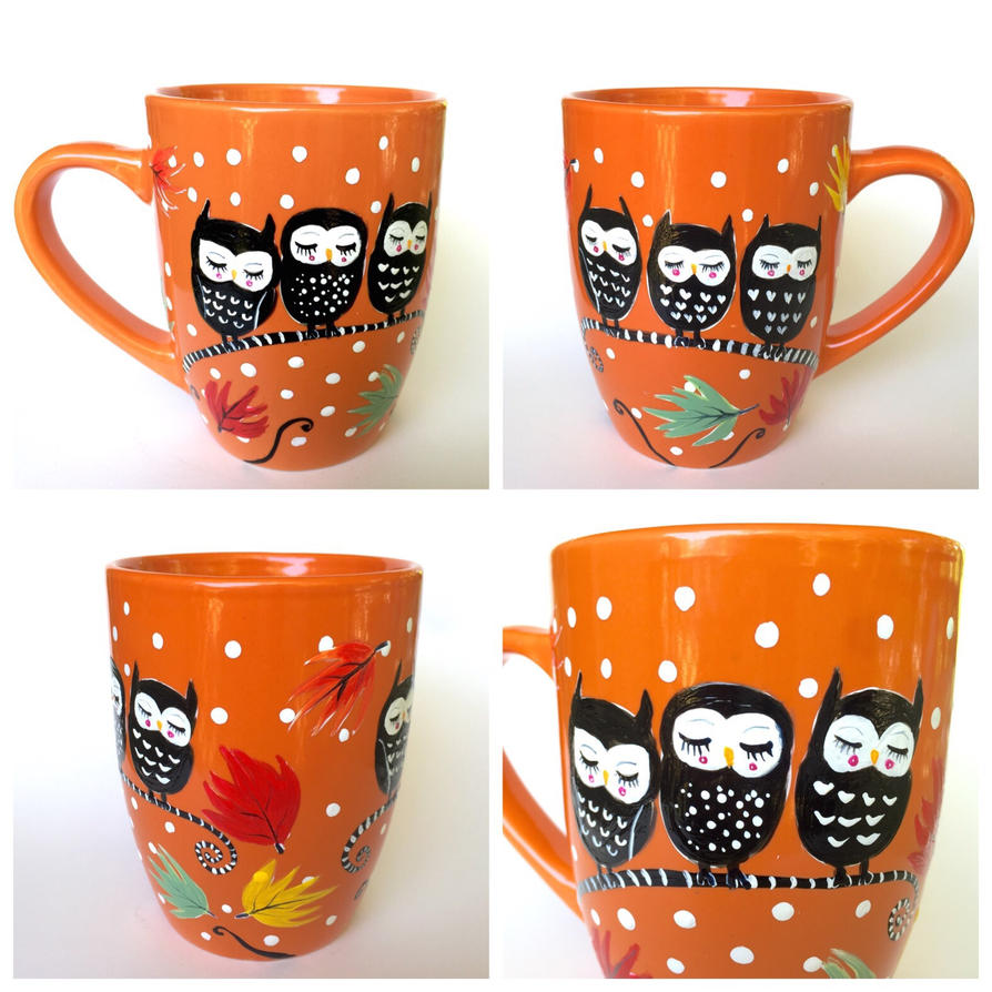 Orange owl mug hand painted coffee mug for sale by Coffee cups for sale
