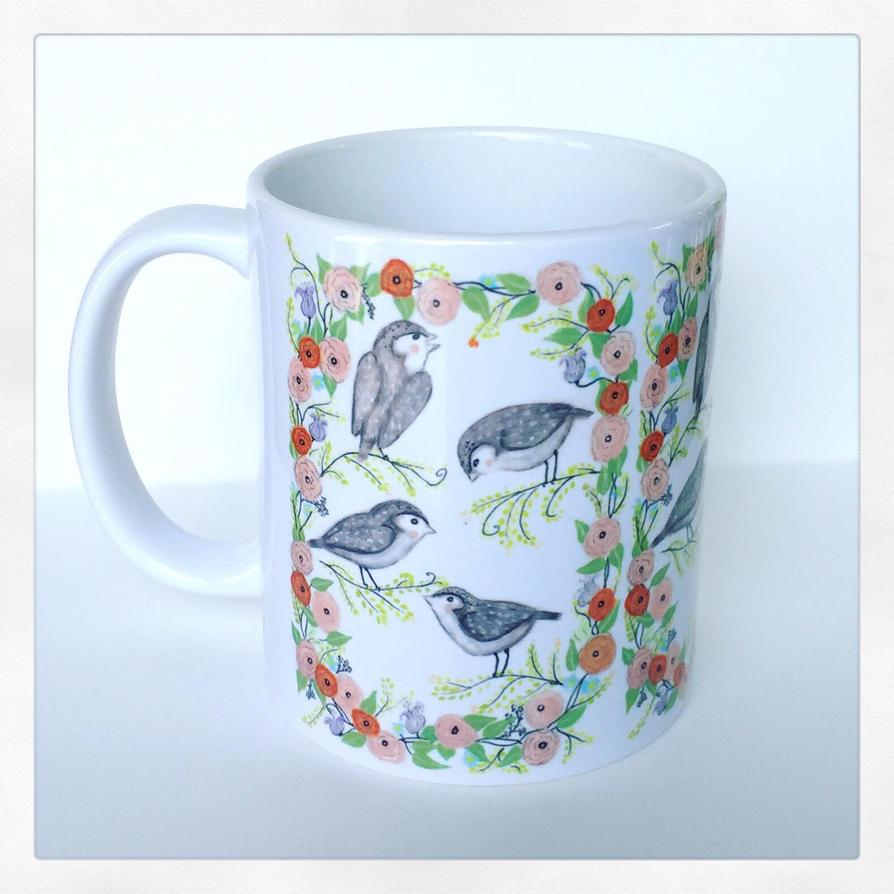 Blushing Birds Coffee Mug  by InkyDreamz