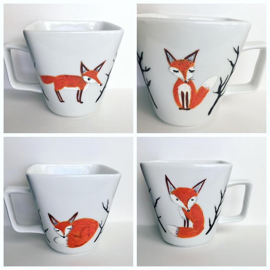 Fox mugs for sale  by InkyDreamz