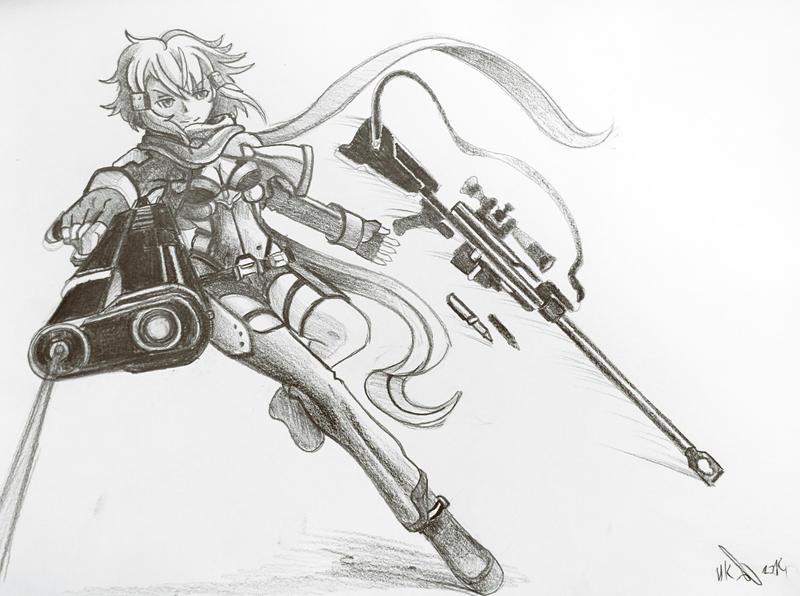 Sinon sword art online 2 pencil by phoenixboy
