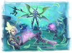 Warriors of Light vs Primal Garuda Fan Art by Arc-Tempered-PhoeniX