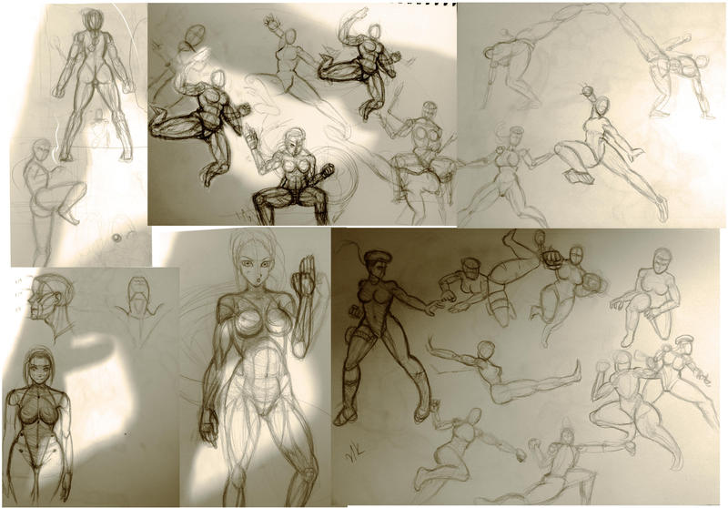 Cammy Street Fighter 5 WIP sketches by Phoenixboy