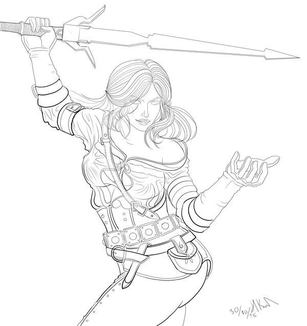 Ciri The Witcher 3 Line art by Phoenixboy