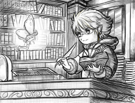 Scholar Lalafell Astral Commission Sketch