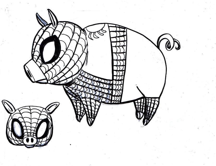 Line Drawing Pig : Spider pig line art by jojomonsterz on deviantart